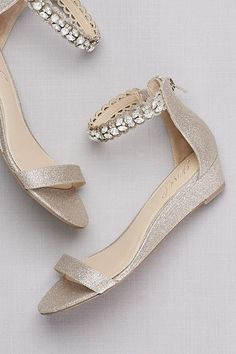Glittery Low Wedge Sandals with Jeweled Ankle | David's Bridal | prom shoes, prom accessories
