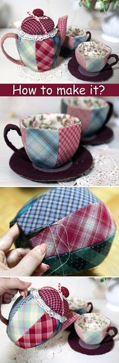 How to sew a Patchwork Teapot and Cups. DIY step-by-step tutorial. Souvenir, gift box. http://www.handmadiya.com/2015/09/patchwork-teapot-cups-tutorial.html