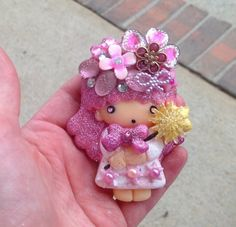 Pink Sparkle Girl LaLa Little Twins Stars Embellished Resin Cabochon | evezbeadz - Jewelry on ArtFire