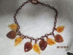 Vintage-plastic-lucite-necklace-acorn-leaf-design-necklace-REVISED-PRICE