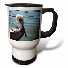 3dRose pelican head left side against river, Travel Mug, 14oz, Stainless Steel