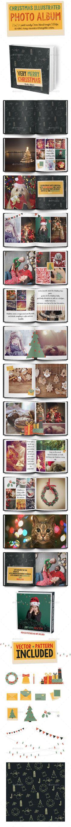 Christmas Illustrated Photo Album Template #design #print Download: http://graphicriver.net/item/christmas-illustrated-photo-album/9379933?ref=ksioks