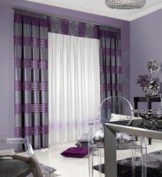 Moderný záves sivo fialový pásikavý