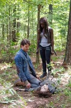Spencer and Michonne putting walker Deanna out of her misery.