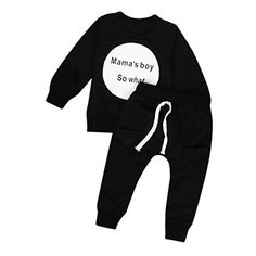 Transer Toddler Kids Baby Girls Boys Outfit Clothes Long Sleeve Tshirt TopsPants 1Set 2436 Month Black ** Click image to review more details.Note:It is affiliate link to Amazon. #GirlsClothes