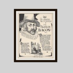 Sir Francis Bacon, Vintage Art Print, Historical Figure, British History, History Lovers Gift, Philosophy, Politics, Science, Literature by VintageButtercup on Etsy https://www.etsy.com/listing/257066777/sir-francis-bacon-vintage-art-print