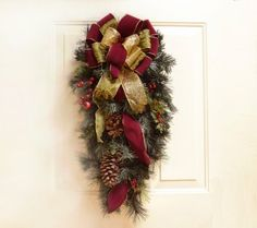 Christmas Swag for Doors-Burgundy