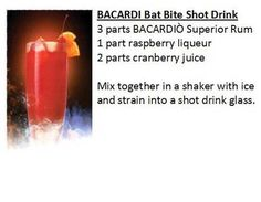 Halloween Drink Recipe - Bacardi Bat Bite Shot