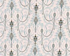 Dolls House Miniature Wallpaper 1/12th or 1/24th scale Quality Paper Beige Vintage  #37