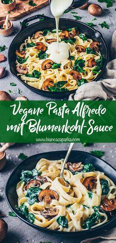 Cauliflower Pasta Sauce, Vegan Cauliflower, Cauliflower Dishes, Vegetarian Recipes, Cooking Recipes, Healthy Recipes, Low Fat Vegan Recipes, Low Fat Pasta Recipes, Pasta With Alfredo Sauce