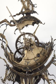 Rare hand-sculpted timepieces by Eric Freitas. Steampunk Crafts, Steampunk Clock, Steampunk Design, Skeleton Wall Clock, Woodworking With Resin, Clock Tattoo Design, Macrame Wall Hanging Diy, Inventions, Two By Two
