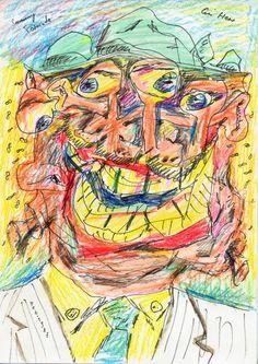 Ein Herr (A Gentleman), 1987 by Sammy Tornado - Coloured pencils and indian ink on paper / Neue Wilde / Art of the 80's