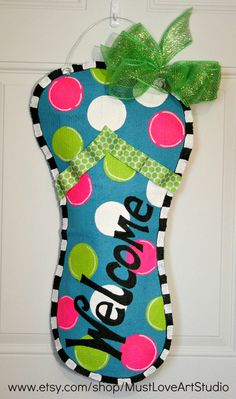 Flip Flop Burlap Door Hanger Decoration HUGE 2 ft  - Spring Summer Polka Dots Welcome