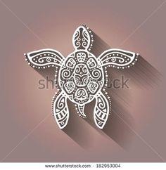 Decorative graphic turtle, tattoo style, tribal totem animal, raster illustration, lace pattern
