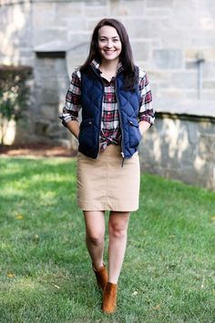 Plaid shirt, navy puffer vest, khaki pencil skirt, ankle boots. | Carly the Prepster