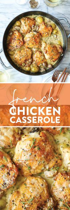 French Chicken Casserole - Damn Delicious Entree Recipes, Dinner Recipes, Cooking Recipes, Cooking Ideas, Dinner Ideas, Chicken Casserole, Casserole Recipes, Soup Recipes, Damn Delicious Recipes