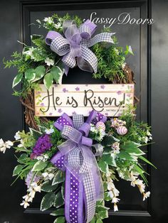 Easter Wreath, Spring Wreath, Religious Wreath, He Is Risen Wreath, SassyDoors Wreath – Grapevine Wreath İdeas. Spring Door Wreaths, Easter Wreaths, Easter Table Decorations, Easter Centerpiece, Spring Decorations, Easter Religious, Easter Crafts, Easter Ideas, Making Ideas