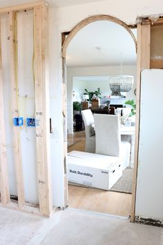 Changing A Square Door to an Arch: Before & Afters - The Inspired Room Arched Interior Doors, Black Interior Doors, Arched Doors, Arch Interior, Exterior Doors, Interior Design, Round Doorway, Arch Doorway, Bedroom Doors