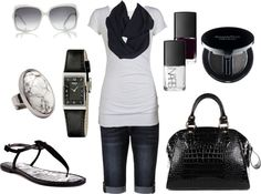 """""""Black and White Casual Summer Outfit"""" by chelseawate on Polyvore"""