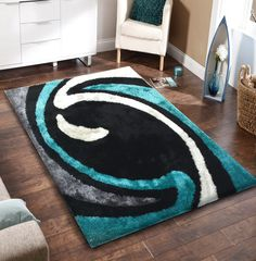 Exquisite colors and sophisticated hand carved designs, of the finest silk-like Viscose yarn.These bold, textural patterns are hand crafted of a fine blend of silky yet durable yarn for maximum longevity. And it measure 5' x 7' ft. http://rugaddiction.com/collections/all-shag-rugs/products/floral-blue-indoor-bedroom-shag-area-rug