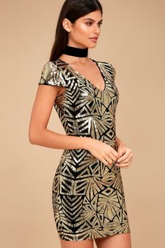 Enter the event in ultimate style in the Elegant Affair Black and Gold Sequin Print Bodycon Dress! Shiny gold sequins create an eye-catching pattern across black mesh, atop a knit lining, as it shapes a V-neckline and sheer, short sleeves. Fitted bodice and bodycon skirt. Hidden back zipper/clasp.