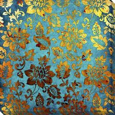 'Gold and Blue Vintage' Giclee Canvas Art   Overstock.com Shopping - The Best Deals on Canvas