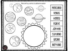 Nuestro Sistema Solar (6) Solar System Activities, Solar System Projects, Space Activities, Montessori Activities, Preschool Spanish, Spanish Teaching Resources, Literacy Circles, Space Solar System, Space Crafts