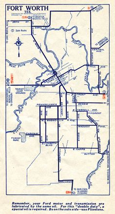1927 Map of Fort Worth Fort Worth Map, Fort Worth Texas, Highway Map, Trinity River, Photo Scan, Old Fort, Texas History, 70s Style, New Poster