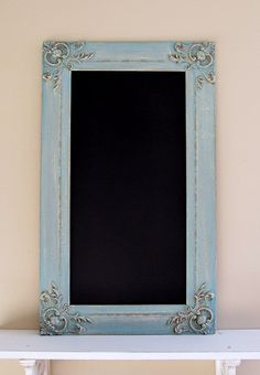 Turquoise CHALKBOARD Blue Christmas Decor Kitchen Chalkboard Vintage Frame Ornate French Country Unique Gift for Her Teal. $124.00, via Etsy.