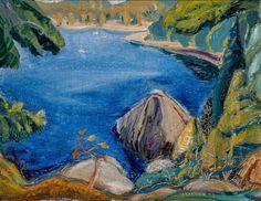 Arthur Lismer - On Pender Island East Coast of Vancouver Island B.C. 14 x 18.125 Oil on canvas (1953) Group Of Seven Paintings, Tom Thomson, Little Pool, Wild Iris, Canadian Painters, Canada, Vancouver Island, East Coast, The Rock