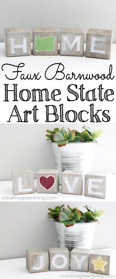 """DIY Barnwood inspired """"Home"""" state art blocks - with extra messages that you can rotate for different seasons. valentines day crafts to sell How to Make Rustic Home State Art Blocks Holiday Wood Crafts, Diy Home Crafts, Diy Crafts To Sell, Christmas Wood, Christmas Signs, Wood Block Crafts, Barn Wood Crafts, Wood Projects That Sell, Scrap Wood Projects"""