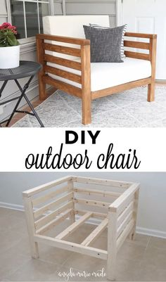 How to easily build a DIY outdoor chair for just $30 in lumber! This DIY patio chair matches our DIY outdoor couch to complete your DIY outdoor furniture set! Click to get the free tutorial! Outdoor Couch, Diy Outdoor Furniture, Diy Furniture Projects, Diy Wood Projects, Outdoor Projects, Furniture Plans, Furniture Makeover, Home Projects, Diy Patio