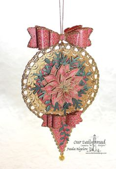 Poinsettia Ornament Red and Gold by laughingstamper - Cards and Paper Crafts at Splitcoaststampers