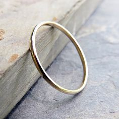 1.5mm Simple Yellow Gold Wedding Band - Thin Traditional Wedding or Promise Ring…