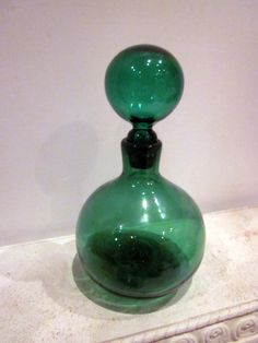 BLENKO Emerald GREEN  Pantone color vintage art gLASS   mid century modern DECANTER stopper vase bottle. $65.00, via Etsy.