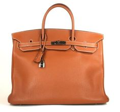 Hermes Gold Togo Leather 40cm Birkin with Palladium Hardware Contrast White Stitching