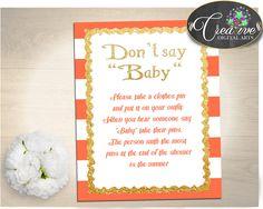 DON'T SAY BABY printable, baby shower game orange striped theme printable glitter gold, digital files, Jpg Pdf, instant download - bs003 #babyshowergames #babyshowerdecorations