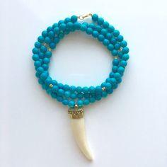 Long Boho Beaded Turquoise White Horn Tusk with Brass Pendant Necklace #piercedesignco