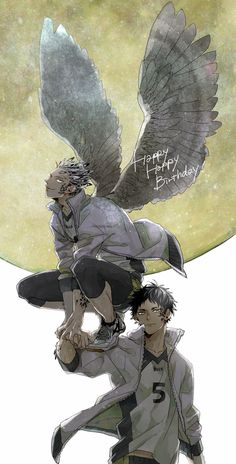 Bokuto & Akaashi | Haikyuu!! #anime すべりこみセーーーーフッッ木兎さんおめでとうございます!!! #木兎光太郎生誕祭2015