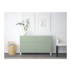BESTÅ Storage combination w doors/drawers - white/Lappviken green, drawer runner, soft-closing - IKEA