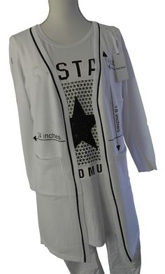 Impressionen Jacke Strickjacke weiß weiss Schrift Taschen Longjacke S - XL