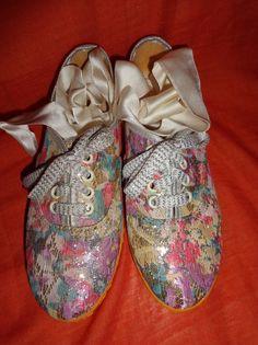 Weiteres - Turnschuhe*Vintage*Glitzer*Vintage*brokat*36*rosa* - ein Designerstück von SweetSweetVintage bei DaWanda
