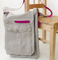 Recycle cargo pants to a cool messenger bag by BluDor Magazine, featured @totgreencrafts