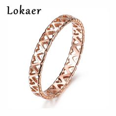 Lokaer Chic Hollow Tea Mountain Flower Ring Romantic 3mm Rose Gold Color Carving Heart Style Stainless Steel Wedding Women Rings #Affiliate