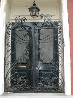 2 ornate gates on historic bldg Richmond Va