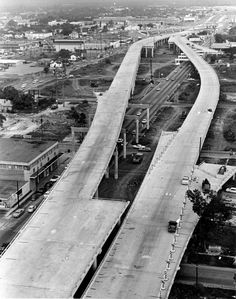 The six-lane interchange connecting the North and Gulf Freeways looking south towards the Gulf Freeway is shown in this Aug. We Built This City, Galveston Island, H Town, Urban Renewal, Entertainment Center, Old Photos, Roads, Britain, Houston