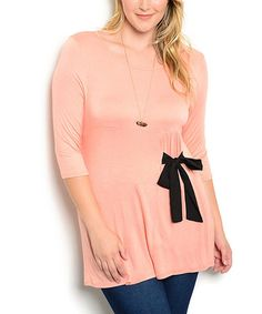 Another great find on #zulily! Peach & Black Bow-Accent Three-Quarter Sleeve Tunic - Plus #zulilyfinds