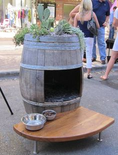 Rain barrel/wine barrel with roof top garden doghouse or cat litter box for indoor plantings