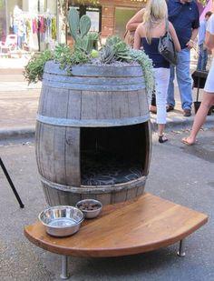 Rain barrel/wine barrel with roof top garden doghouse!