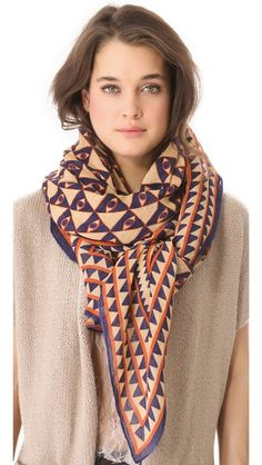 Theodora & Callum Luxor Scarf: Easily go from work to an evening out with this geometric patterned scarf.